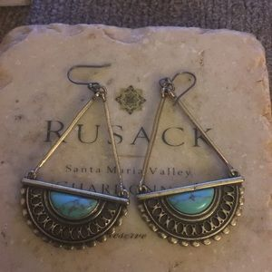 Lucky turquoise and brass earrings